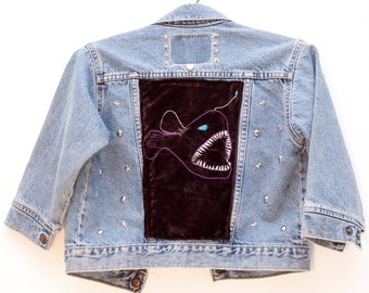 Studded Levi's Denim Jacket Angler Fish Embroidery Altered Vintage