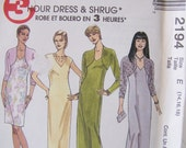 Dress with Shrug McCall's 2194 Women's Dress SALE Pattern, Bolero 3 Hour Dress, Mother of the Bride Easy to Sew Size 14 - 18 Pattern Destash