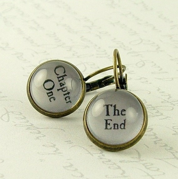 Gift For Book Lover - Book Earrings - Chapter One The End - Secret Santa - Literary Jewelry - Gift For Writers - Christmas Gift For Reader