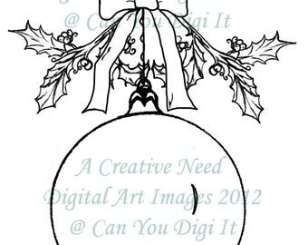 INSTANT Download Digital Stamp Image HOLLY ORNAMENT