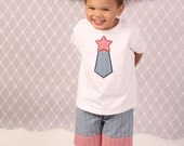 Personalized boys 4th of July shirt, tie applique shirt, 4th of July shirt, applique tie shirt, LDM