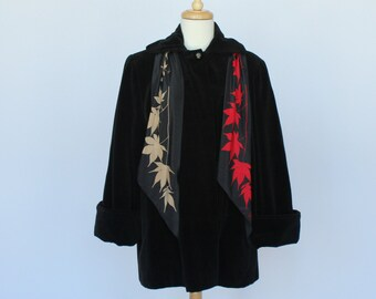 50's / 60's Black Velveteen Jacket / Swing Style / Flared Sleeves / Small to Medium