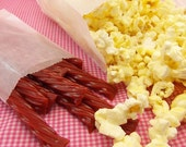 """25 Gusseted Glassine Popcorn Bags . 4"""" x 2.5"""" x 8.5"""""""