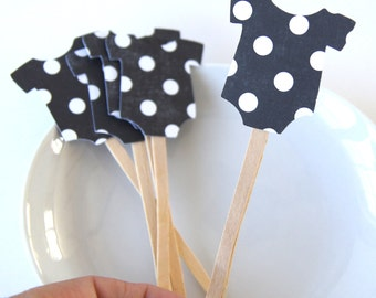 12 Polka Dot Baby Onesie Cupcake Toppers, Party Picks or Skewers in Black (20 colors available)