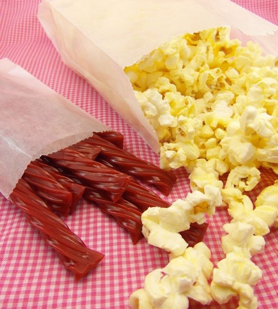 """25 Gusseted Glassine Popcorn Bags . 4"""" x 2.5"""" x 8.5"""", Gusseted Glassine Bags, Gusseted Bakery Bags"""