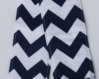 Camera Strap Cover- lens cap pocket and padding - Navy Chevron