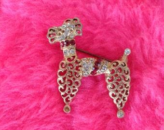 Vintage Poodle Pin Brooch Gold Tone Metal and Rhinestones