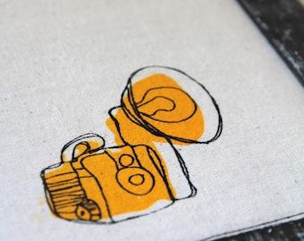 "Linocut print / Screenprint - 5"" x 7"" capture camera fabric print - yellow"