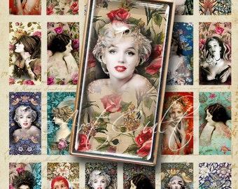 Digital Collage Sheet Printable download FEMME FATALE 1x2 Inch images for Domino pendants bezel trays ephemera Vintage ladies Marilyn Monroe