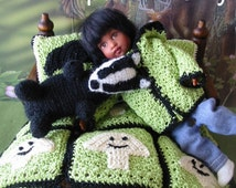 Crochet pattern (PDF) for 7-8 inch child doll Riley Kish - 5 designs - Toy badger Basket Coat Pillows Blanket truffles