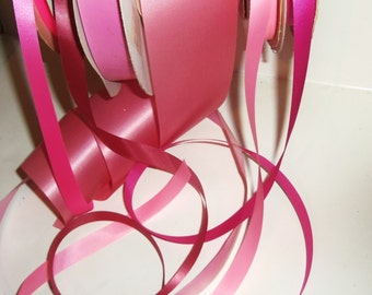 "Pink Satin Ribbon Mixed Lot 30 yards 6 shades Vintage 5/8"" to 2 5/8"" wide Gift Wrap"