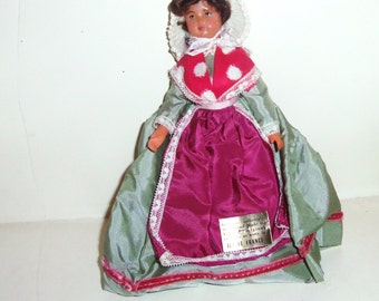 Vintage French Doll Ile de France Plastic 1960's souvenir Doll of the World in Long Satin Peasant Dress