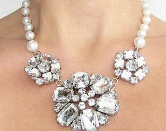 Bridal Jewelry Wedding Necklace Bridal Wedding Jewelry Statement Wedding Necklace Rhinestone Necklace