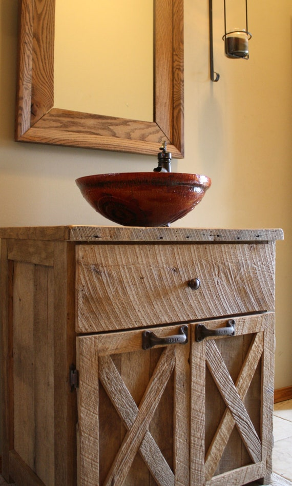 Barn Style Sink : YOUR Custom Rustic Barn Wood Vanity or Cabinet with 2 Barn Style Doors ...