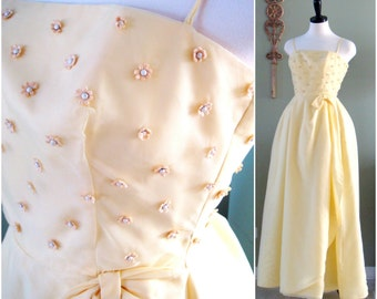 Yellow Prom Dress, 1960s Yellow Formal Dress Young Cosmopolitans Best and Co., Vintage Yellow Party Dress