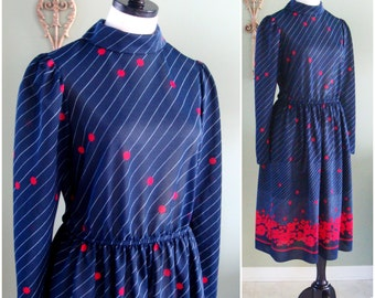 Vintage 70s Dress,  Navy Blue and Red Polka Dot Floral 70s Secretary Dress by JC Penney Fashions, Patriotic Dress with Sleeves Size M