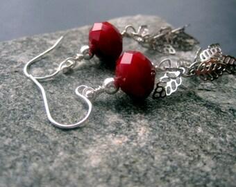 Silver Leaf Earrings -  Silver Leaf Red Ruby Quartz  Earrings