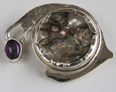 Abalone Brooch with Amethyst Accent on Sterling Silver