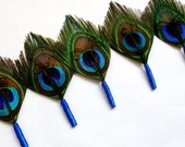 Set of 7 boutonnieres with Teal Wrap