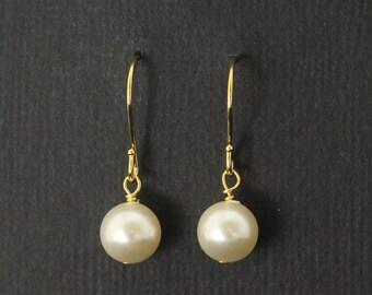 Gold Pearl Bridesmaid Earrings, Ivory Cream Pearl Earrings, Dangles, Gold Bridesmaid Jewelry -- SAVANNAH II