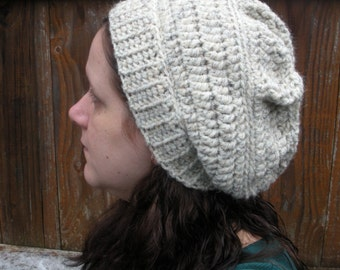 SALE, Chunky Crochet Slouch Hat in Oatmeal, ready to ship.