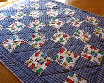 Patchwork Boy Baby Quilt Farmhouse style