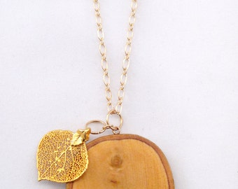 Wood Slice & Yellow Gold Dipped Leaf Necklace