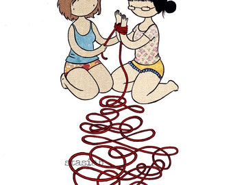Art Print - Rope - 8x10 Cute sexy kinky drawing