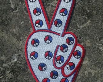 1972 Hippie Peace Movement TWO FINGER PEACE Red White and Blue Patch 4 inches