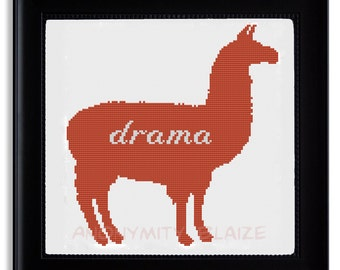 Drama Llama Cross Stitch Pattern