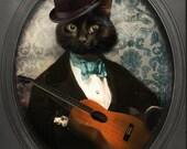 Black Cat Art Print Cat Art Animal Photography Cat with a Guitar Pet Portrait Gifts for Veterinarians Print - Felix Fitzpatrick
