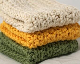 Crochet Washcloths Cotton Dishcloths Wash Cloths in Yarrow Colors Set of 3