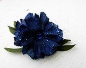Blue  Flower Hair Barrette Hair ornament White Leaves Hair Accessory Decoration Blue Green #H1