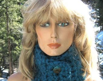 Neckwarmer/Cowl Teal Blue Super Thick Wool Blend