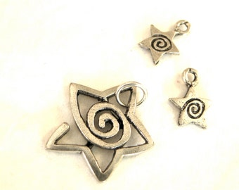 Shooting Stars Assorted Metal Charms Made in USA  (3)