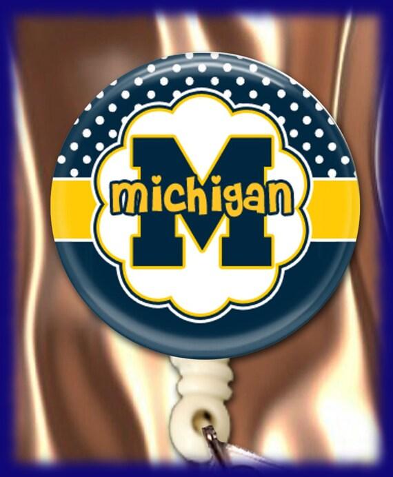 ID Badge Holder Retractable Reel Michigan Any Profession Multi Option Choice