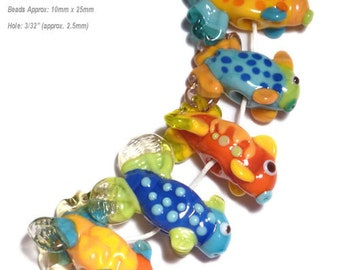 GONE FISHING COLORS Lampwork Beads Handmade Fish in Bold Colors of Blue Yellow Green Red  Set of 5
