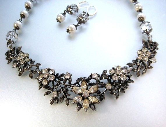 Swarovski White Pearl and Crystal With Vintage Bridal Statement Jewelry Set, zoeJane, Wedding Jewelry, Fantasy Flower Collection