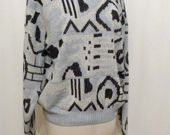 Signals Sweater / New Wave Non Pattern Cosby Sweater / Nonwool / Men Women Large
