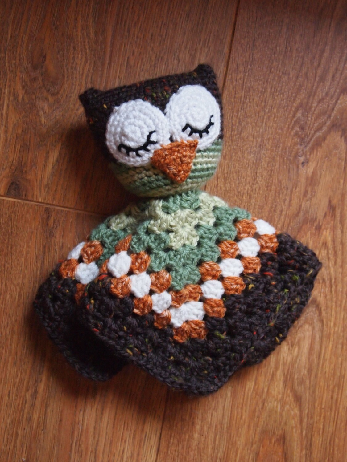 Crochet Owl Baby Blanket : Free Shipping Baby Owl Crochet Security Blanket by HamAndEggs
