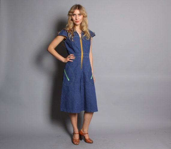 70s DENIM ROMPER / Blue Jean Cropped Jumpsuit with Colorblock Zippers, xs-s