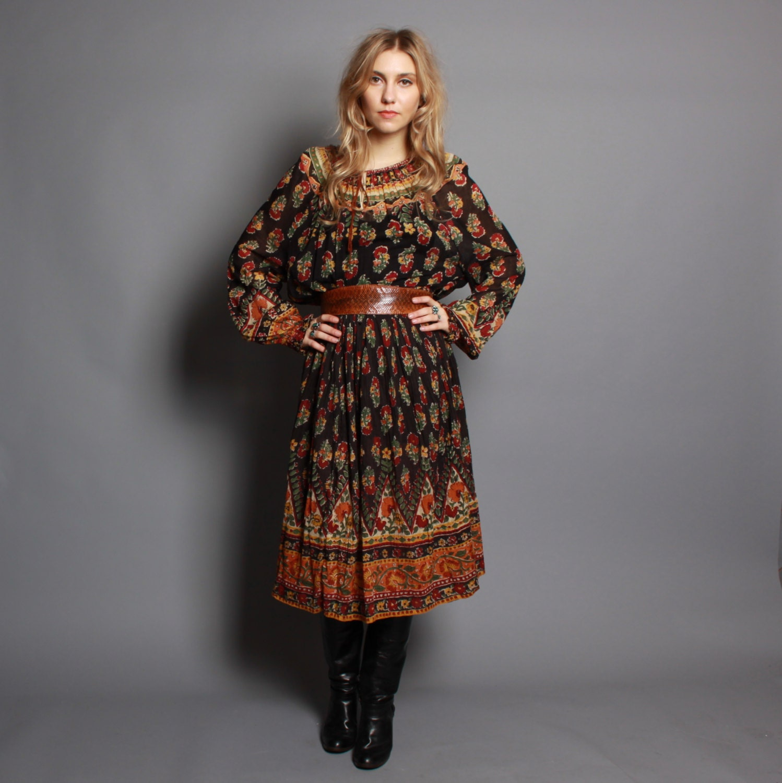 70s Gauze Boho Dress Peasant Style Semi Sheer Indian Cotton