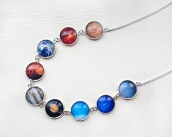 Solar System Planets Necklace - 8 Planets plus dwarf planet Pluto - Glass Dome Statement Necklace