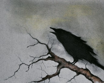 Original Crow on a Branch Drawing Raven Art Dark Art ...