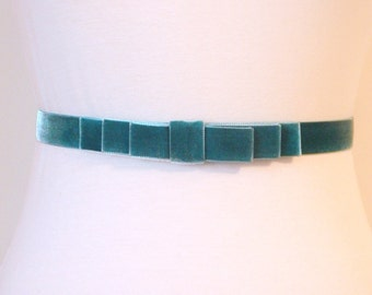 Bluegreen Velvet Bow Belt