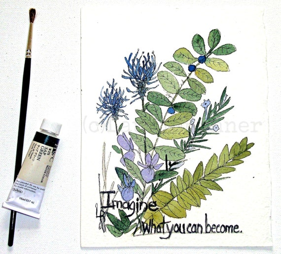 Watercolor Painting Botanical Garden Woodland Flowers