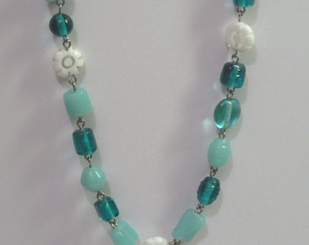 Aqua And White Glass Bead Necklace