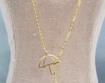 Rain Drops Necklace. Umbrella And Raindrop. All Brass version. La Pluie. Delicate. Minimalist