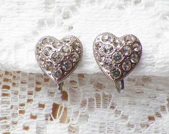 Vintage Rhinestone Heart Earrings, Heart Shaped Silver Tone Screw Back Earrings, Bride / Bridal / Wedding, Clear Rhinestones, Love