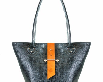 Leather Tote Bag - Large Black Leather Shopping Bag with Two Tone Contrast